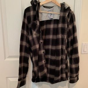 Grey hooded flannel